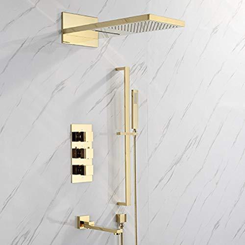 Juego de grifos termostáticos de baño para bañera juego de cabezal de ducha cepillo dorado/latón dorado estilo cuadrado lluvia dorado,5JR4D1LCDAJQI