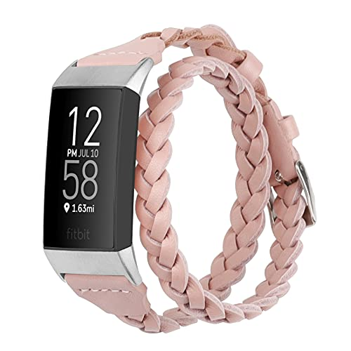 Wearlizer Double Leather Armband Kompatibel mit Fitbit Charge 4 / Fitbit Charge 3 / Fitbit Charge 3 SE, Schlankes Lederarmband Double Tour Armband Ersatz für Frauen Mädchen Woven, Rosa