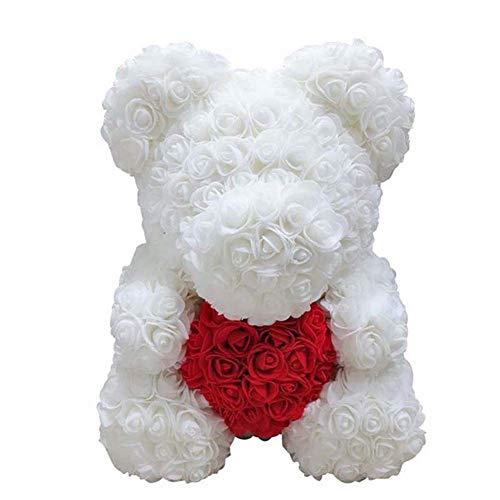 Selotrot Rose Ours, Cœur Amour Mousse Fleur Rose Adorable Ours Saint Valentin Anniversaire Romantique Gift25cm - Blanc