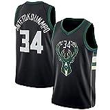 JINHAO Camiseta de Baloncesto para Hombre NBA Milwaukee Bucks #34 Giannis Antetokounmpo Camiseta de Baloncesto Swingman de Malla (Negro, XL)