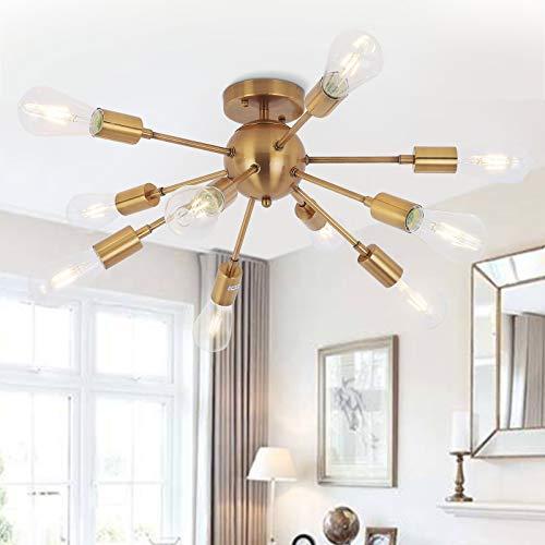 Sputnik Kronleuchter 10 flammige Modern Deckenleuchte Pendelleuchte Hängelampe mit E27 Lampenfassung Metall Bleuchtung Höhenverstellbar für Esszimmer Wohnzimmer Schlafzimmer Küche Restaurant (Golden)