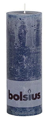 Bolsius Tall Textured Pillar Candle in 'Dark Blue'