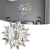 Flor del Sol Pegatinas Decorativas Pared plata, Pegatinas de Cristal Acrílico Brillante, 3D Modern Espejo de Pared de la DIY, Decoración Para el Hogar