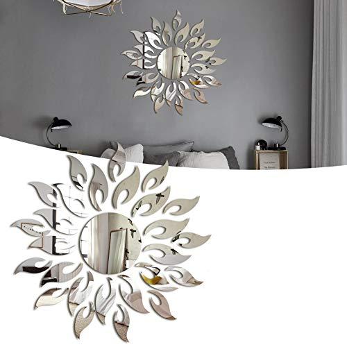 Adesivi Murali di Cristallo Acrilico in Acrilico, Adesivo da Parete Acrilico Girasole 3D Adesivo Specchio Rimovibile per Camera da Letto Soggiorno Decorazione Bagno Argento