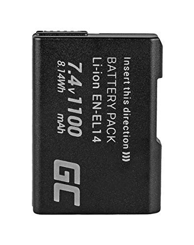 Green Cell® EN-EL14 EN-EL14A Batería para Nikon D3100 D3200 D3300 D3400 D5100 D5200 D5300 D5500 D5600 DF CoolPix P7000 P7100 P7700 P7800 Cámara, Full Decoded (1100mAh 7.4V)