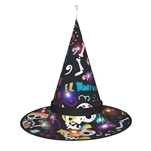 Sombrero de Bruja de Halloween para Mujer, Gorro de Calavera Mexicana para el Da de los Muertos para Fiesta, Disfraz de Cosplay, Accesorio Diario