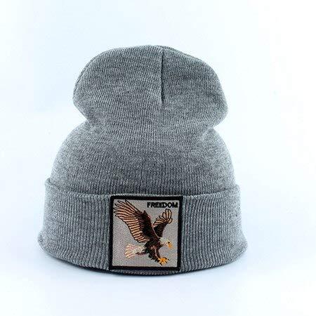 WAZHX Hombre Beanie Animal Wolf Bordado Sombreros De Invierno Gorros De Punto para Hombres Streetwear Hip Hop Skullies Bonnet Eaglegray