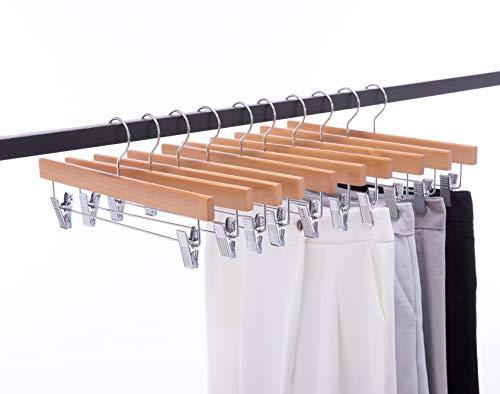 Cocomaya 35,5 cm Natural Luxury Massivholz Rock Kleiderbügel Hosen Kleiderbügel Hosen Kleiderbügel Jeans Kleiderbügel mit 2 verstellbaren Clips, 10er Pack