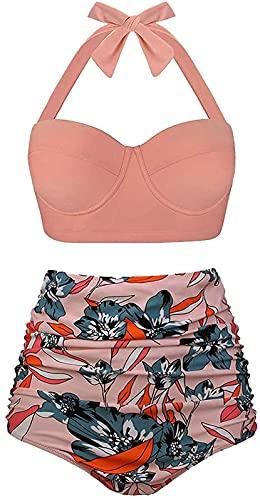 JOK Mujeres Vintage Underwire Taliotrojo de Cintura Alto Trajes de Bici de Bikini, Bikini Traje de baño Impreso de Cintura Alta, Beige - S