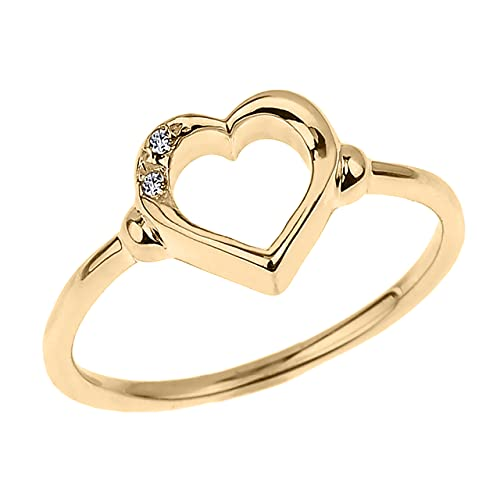 10K Yellow Gold Diamond Accented Open Heart Ring with Pavé Set Gems (J-K Color, I1-I2 Clarity) -...