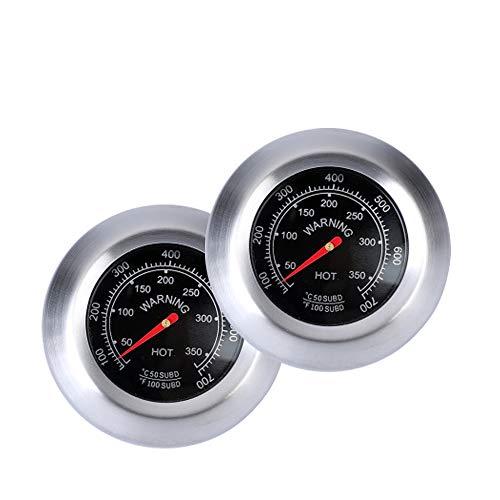 HPiano Edelstahl Raucher Grill 2pcs, BBQ Thermometer Manometer,Edelstahl Bimetall Küchen Braten Zeigerthermometer Thermometer mit Celsius und Fahrenheit 100-700℉