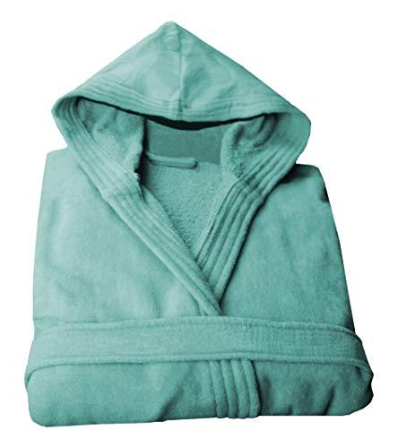 LASA Bademantel mit Kapuze, 100% Baumwolle, Aquagrün, Größe M
