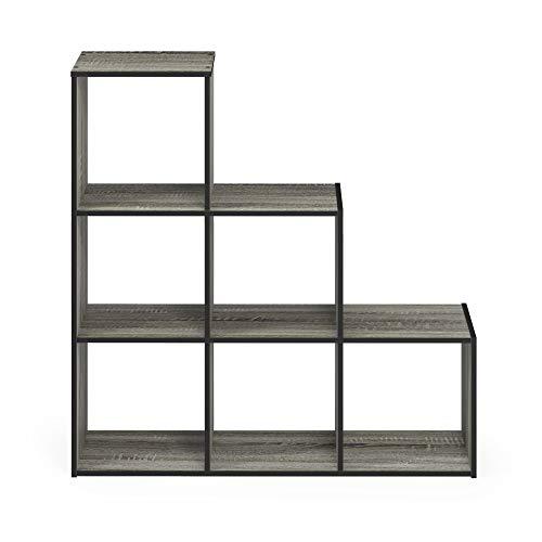 Furinno Pelli 3-2-1 Cubic Storage Cabinet, French Oak Grey/Black