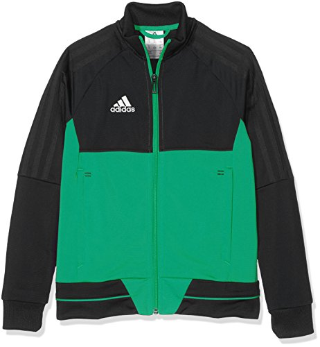 adidas Tiro 17 PES Jacket Chaqueta, niños, Negro/Verde/Blanco, 128