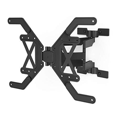 Hama Soporte de pared para televisores de 37 a 75 pulgadas (giratorio, inclinable, fino, para televisores de hasta 40 kg, VESA 600 x 400, incluye tacos Fischer y plantilla de perforación), color negro