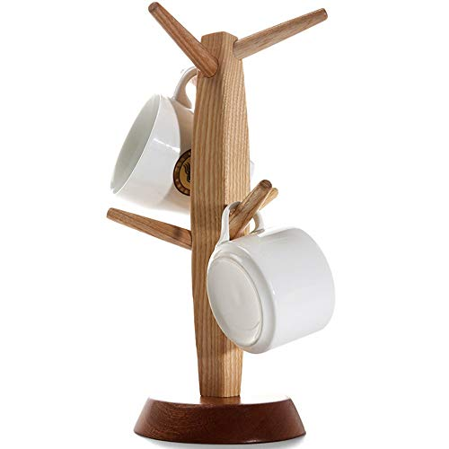 NBLL Ash Wood Cup Holder Tree, Desktop Wooden Cup Holder, Used For Drying And Storing Tea Cups And Coffee Cups, Suitable For Home, Coffee Shop, Hotel