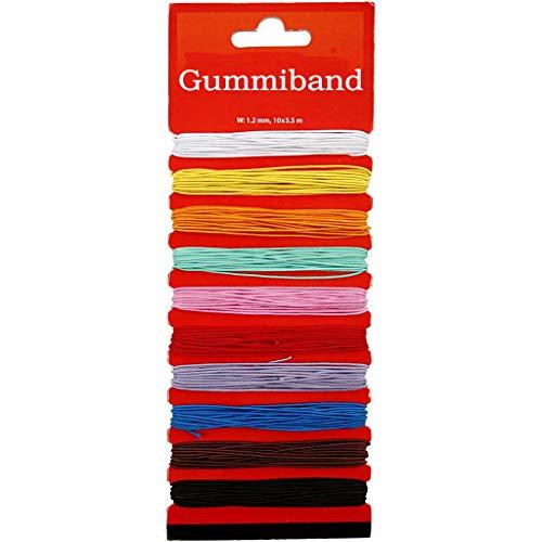 YooKreativ Gummiband für Armbänder, Buntes Gummiband für Kinder zum Basteln für Perlenkunst und Schmuck, Sortiment - Elastisches Band in 10 leuchtenden Farben, 3,5 m, Stärke: 1,2 mm.