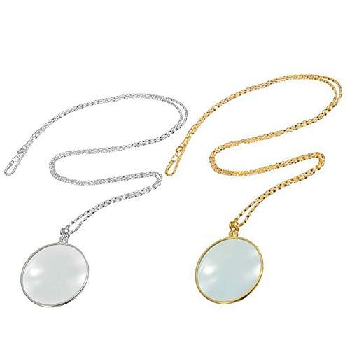 yuezhi 5x vergrootglas hanger twee vergrootglas hanger vergrootglas met gouden zilveren ketting ronde loep hanger sieraden munt vergrootglas hanger gemakkelijk te dragen geschikt als geschenk (2 stuks)