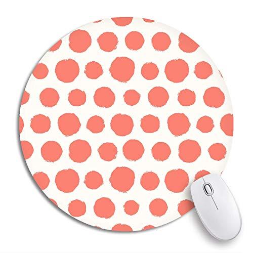 HENTIN 7.9 * 7.9 Inch ronde muismat Aquarel patroon Geschilderde stip Geometrische moderne verf Regenboog Antislip rubberen basis Muismat Gaming Mousepad