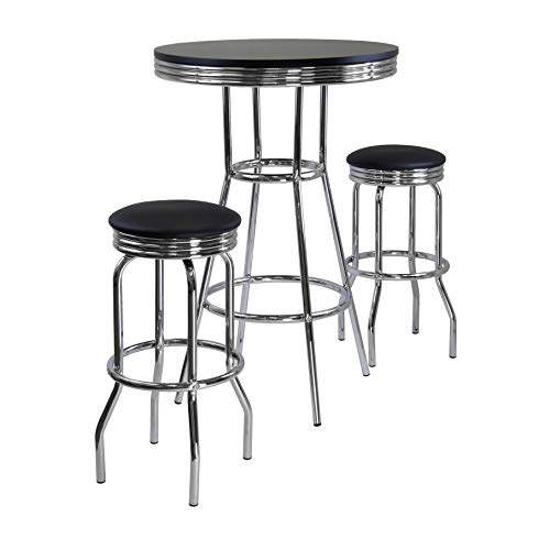 Winsome Summit Pub Table and 2 Swivel Stool Set, 3-Piece