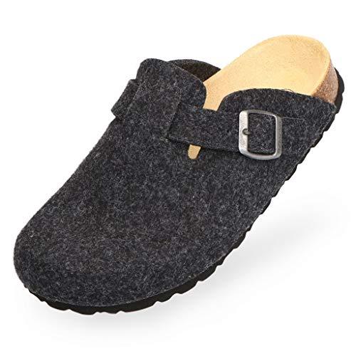 BOnova Wesel: Filzpantoffel in anthrazit, Größe 48. Hausschuhe aus weichem Wollfilz, mit Kork-Fußbett, hergestellt in der EU