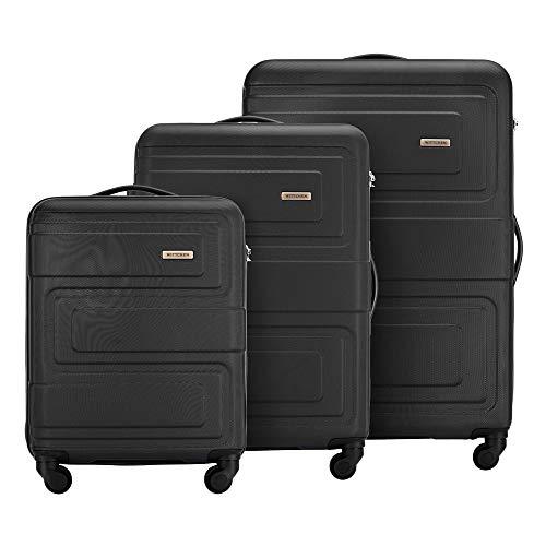 Stabiler Koffer-Set 3tlg. Trolley Koffer Reisekoffer von Wittchen ABS Hartschalen Kofferset Trolley 4 Rollen Kombinationsschloss Gepäck S-M-L-Set Schwarz