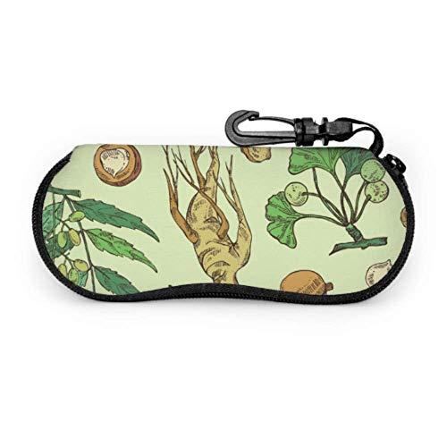 Fundas de gafas Patrón de hierbas medicinales de ginseng Ultra Ligero Neopreno con Cremallera Almacenaje Lente Suave Sunglasses Case 8 * 17cm