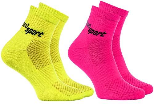 Rainbow Socks - Hombre Mujer Calcetines de Deporte Neon - 2 Pares - Rosa Amarillo - Talla UE 44-46