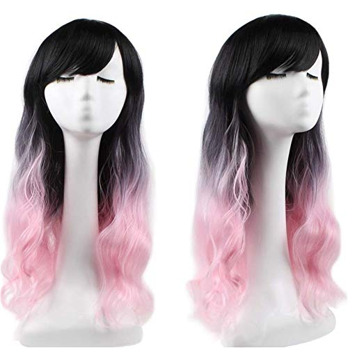 ANTONIDAS Corn low volume rosiness fade to black long curly hair wig long curly hair net all-caps Wig (Color : Black pink)