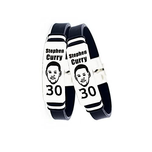 Lorh's store NBA Jugador de Baloncesto Estrella Inspirador Logotipo Personal Ajustable Pulseras de Acero Inoxidable Equilibrio de energía Deporte Pulsera de Silicona 2 Piezas (Stephen Curry)