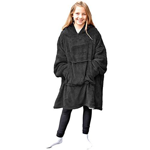 HOMELEVEL Sherpa - Sudadera de invierno XL para niños Negro Talla única