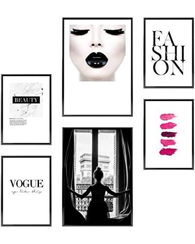 Heimlich® Premium Poster Set | Stilvolles Set mit passenden Bilder als Wohnzimmer Deko | 2 x DIN A3 & 4 x DIN A4 - ca. 30x42 & 21x30 | ohne Bilderrahmen » Paris Fashion «