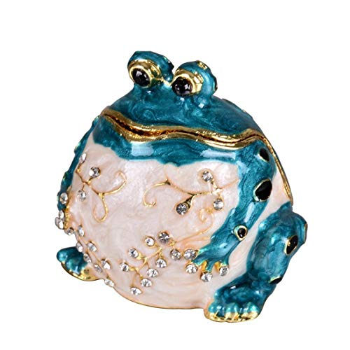 Hinged Frog Trinket Jewelry Box Crystal Jeweled Small Cute Frog Animal Figurines Collectible