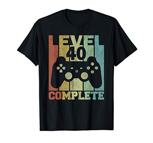 Regalos Para Hombres 40 Años Cumpleaños Level 40 Complete Camiseta