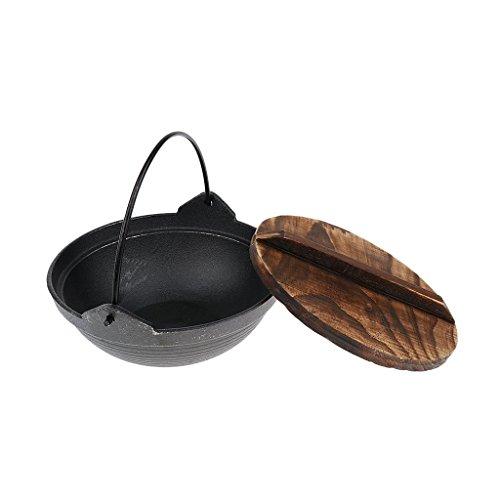 Gusseisen-Aluminiumlegierung, Campingkochen, Lagerfeuer, Topf, Pfanne, Wok, Kessel mit Holzdeckel, 1 Stück (18 cm)