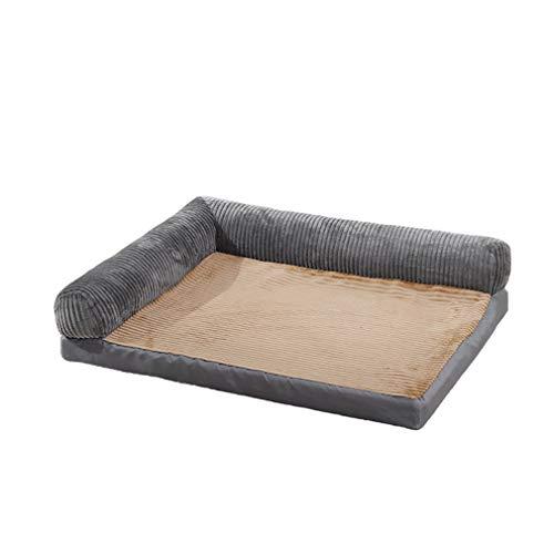 LRR Orthopädische Hundebetten Extra großes Memory Foam Couch Hundesofa mit abnehmbarem, waschbarem Bezug und rutschfestem Boden-grey-60 * 50 * 18cm