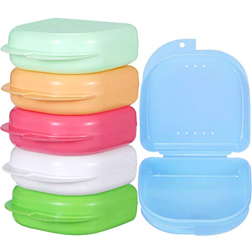 Gejoy 6 Pieces Retainer Case Mouth Guard Case Orthodontic Denture Storage Container (Multicolor 1)