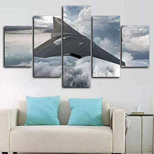 BHJIO 5 Piezas Cuadro sobre Lienzo Imagen Aeronave Impresión Pinturas Murales Decor Fotos para Salon Dormitorio Baño Comedor Regalo 80X150Cm