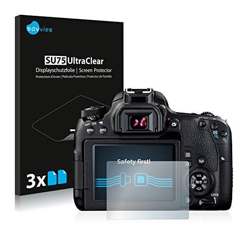 Savvies 6X Schutzfolie kompatibel mit Canon EOS 77D Displayschutz-Folie Ultra-transparent