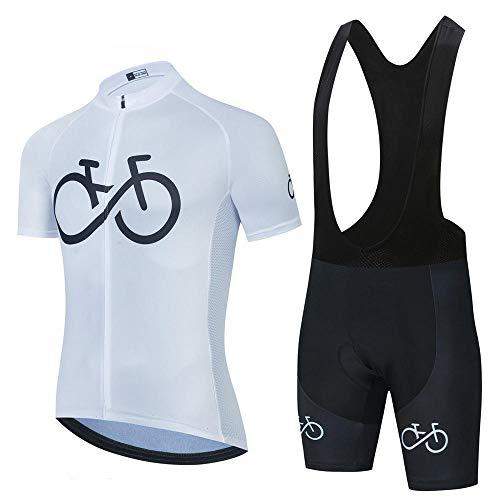HXTSWGS Conjunto de Babero de Jersey de Ciclismo, Uniforme de MTB, Ropa de Bicicleta, Ropa de Secado rápido, Ropa de Ciclismo para Hombres, Jersey de Ciclismo Deportivo-White_XL
