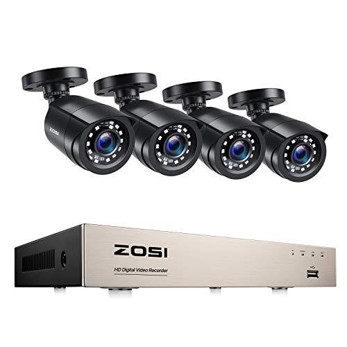 ZOSI CCTV Video Überwachungssystem 8CH H.265+ HDMI DVR Recorder mit 4 Außen 1080P Überwachungskamera Set ohne Festplatte, 24m IR Nachtsicht, Bewegung Alarm, Smartphone & PC Schnellzugriff