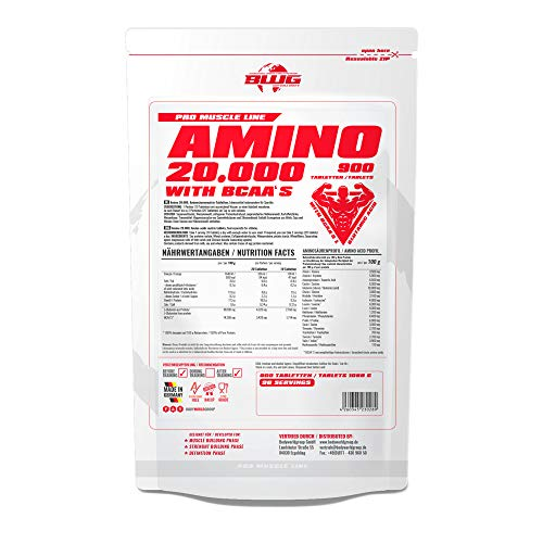 BWG Amino 20.000, Aminosäuren Komplex mit 900 Tabletten, Massiv, hochdosiert, Bioaktiv, mit BCAA`S, Vorratspackung, Muskelaufbauphase, Kraftsport und Bodybuilder, alle 18 Aminosäuren, ohne Gelantine