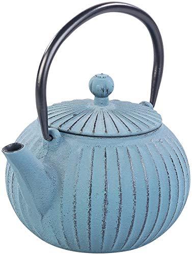 Rosenstein & Söhne Teekanne japanisch: Asiatische Teekanne aus Gusseisen mit Edelstahl-Sieb, 0,5 l, blau (Gusseisenkanne)