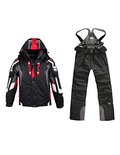 Ceanfly Herren Skianzug Skijacke + Skihose Winter wasserdichte Patchwork Ski Jacke und Hose Set mit Kapuze
