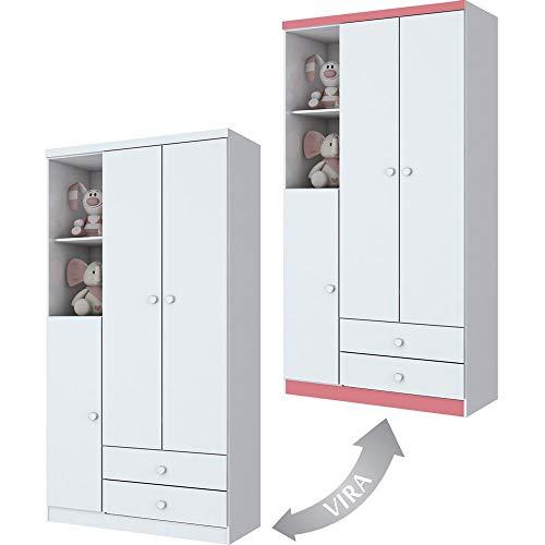 Guarda-Roupa Bala De Menta 3 Portas Branco E Rosa Chá Henn