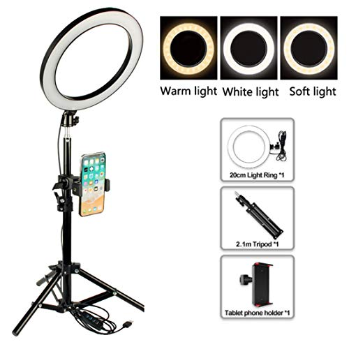 DLMPT 8 Zoll Selfie Ringleuchte RingLicht Set 3 Farben 3200-5500K LED Ring Light Kit mit Höhenverstellbares Stativ für iPhone Make-up VideoYouTube Vlog,50cm