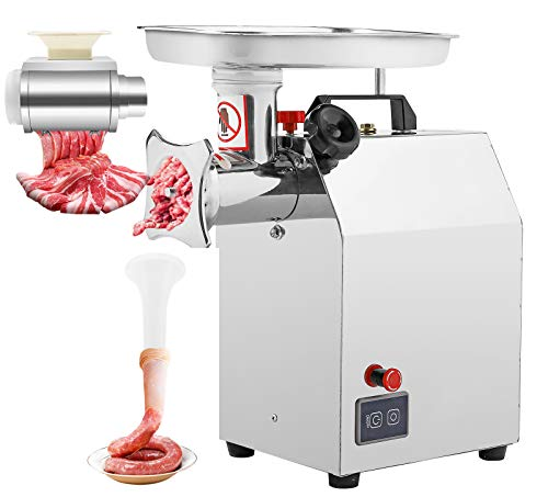 Moongiantgo Commercial Meat Grinder 1.5HP Electric Meat Grinding Machine Heavy Duty Sausage Stuffer Low Noise 441 LBS/H Stainless Steel Mincer Cutter for Restaurant Butcher Beef Venison Fish Bones