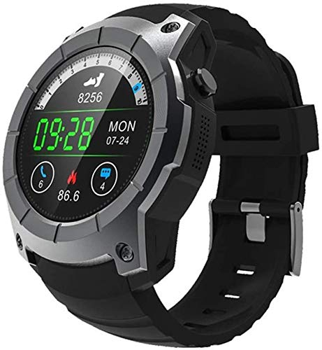 Herren GPS-Smartwatch, Outdoor-Sport-Smartwatch, 24 Stunden Herzfrequenz-Fitness-Tracker, IP68 wasserdicht, unterstützt TF SIM-Anrufinformationsfunktion, aRed, Schwarz