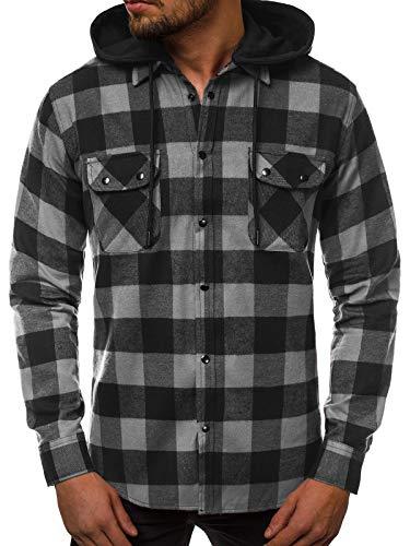 OZONEE Herren Hemd Freizeithemd Shirt Langarm Tailored Fit Flanellhemd Langarmhemd Langärmliges Slim Fit Freizeit Business Männer Jungen Trachtenhemd O/T500 SCHWARZ-GRAU M
