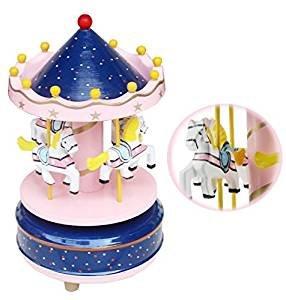 Jouet Premier Age Carrousel Boîte à Musique Carrousel Manège Joyeux en Bois Jouet Cadeau Noël pour Enfants Boîte à Musique Carrousel Boléro Sonate BGM Le Chateau Dans Le Ciel (Rose )